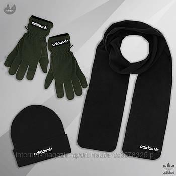 Чоловічий комплект шапка + шарф + рукавички Adidas чорного і зеленого кольору (люкс копія)