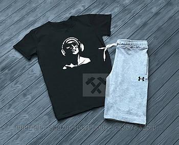 Чоловічий комплект футболка + шорти Under Armour чорного і сірого кольору (люкс копія)