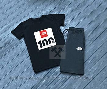 Чоловічий комплект футболка + шорти The North Face чорного і сірого кольору (люкс копія)