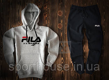 Мужской спортивный костюм Фила (Fila) толстовка и штаны (на любой сезон), реплика серый, черный