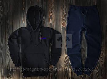 Мужской спортивный костюм Фила (Fila) толстовка и штаны (на любой сезон), реплика черный, синий
