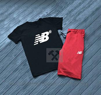 Чоловічий комплект футболка + шорти New Balance чорного і червоного кольору (люкс копія)