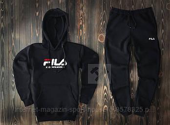 Мужской спортивный костюм Фила (Fila) толстовка и штаны (на любой сезон), реплика черный