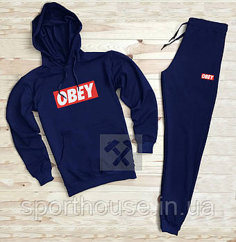 Мужской спортивный костюм Обей (Obey) толстовка и штаны (на любой сезон), реплика синий