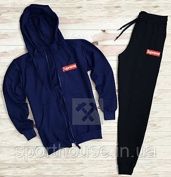 Мужской спортивный костюм Суприм (Supreme) олимпийка и штаны ( на любой сезон), реплика синий