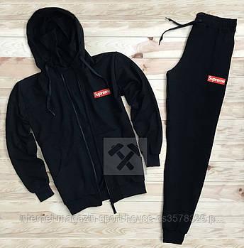 Мужской спортивный костюм Суприм (Supreme) олимпийка и штаны ( на любой сезон), реплика черный