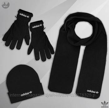 Чоловічий комплект шапка + шарф + рукавички Adidas чорного кольору (люкс копія)