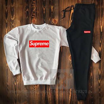 Мужской спортивный костюм Суприм (Supreme) реглан и штаны (на любой сезон), реплика белый