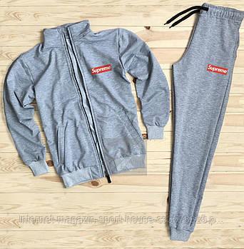 Мужской спортивный костюм Суприм (Supreme) олимпийка и штаны ( на любой сезон), реплика серый