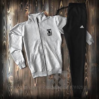 Мужской спортивный костюм Адидас (Adidas) олимпийка и штаны ( на любой сезон), реплика серый