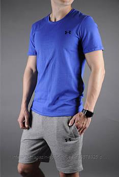 Чоловічий комплект футболка + шорти Under Armour синього і сірого кольору (люкс копія)