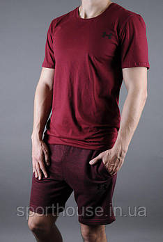 Чоловічий комплект футболка + шорти Under Armour червоного кольору (люкс копія)