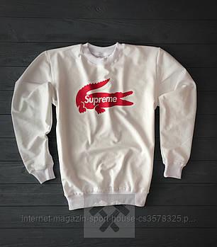 Спортивна кофта Supreme, Супреме, світшот, трикотаж, чоловічий, білого кольору, копія