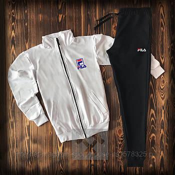 Мужской спортивный костюм Фила (Fila) олимпийка и штаны ( на любой сезон), реплика белый