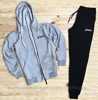 Спортивний костюм Asics сірого і чорного кольору (люкс копія)