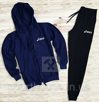Спортивний костюм Asics синього і чорного кольору (люкс копія)