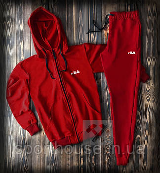 Мужской спортивный костюм Фила (Fila) олимпийка и штаны ( на любой сезон), реплика красный