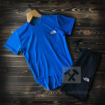 Чоловічий комплект футболка + шорти the north face синього і чорного кольору (люкс копія)