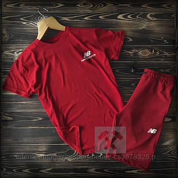 Чоловічий комплект футболка + шорти New Balance червоного кольору (люкс копія)