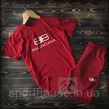 Трикотажный комплект футболка и шорты Баленсиага (Balenciaga) мужской, реплика