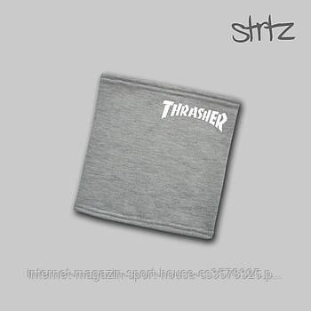Трикотажный зимний бафф/горловин Трешер (Thrasher), отличного качества, реплика