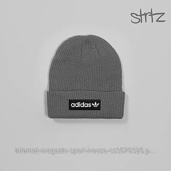 Демисезонная акриловая шапка Адидас (Adidas), теплая, реплика