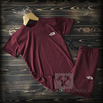 Чоловічий комплект футболка + шорти the north face бордового кольору (люкс копія)
