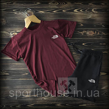 Чоловічий комплект футболка + шорти the north face бордового і чорного кольору (люкс копія)