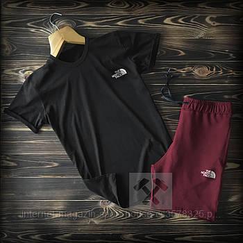 Чоловічий комплект футболка + шорти the north face чорного і бордового кольору (люкс копія)