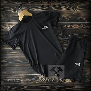 Чоловічий комплект футболка + шорти the north face чорного кольору (люкс копія)