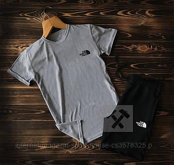 Чоловічий комплект футболка + шорти the north face сірого і чорного кольору (люкс копія)
