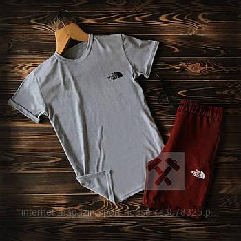 Чоловічий комплект футболка + шорти the north face сірого та бордового кольору (люкс копія)