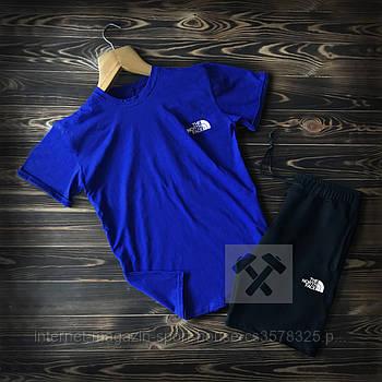 Чоловічий комплект футболка + шорти the north face синього кольору (люкс копія)