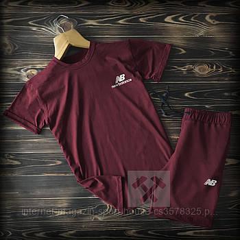 Чоловічий комплект футболка + шорти New Balance бордового кольору (люкс копія)