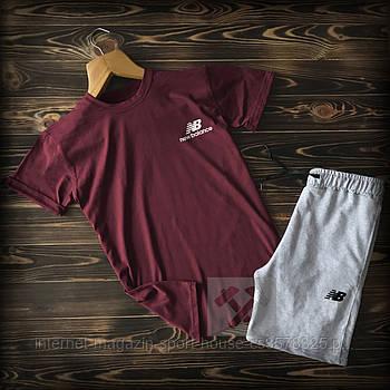 Чоловічий комплект футболка + шорти New Balance бордового і сірого кольору (люкс копія)