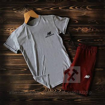 Чоловічий комплект футболка + шорти New Balance сірого та бордового кольору (люкс копія)