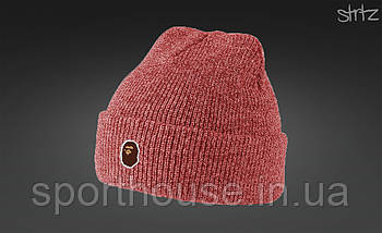Демисезонная акриловая шапка Бейп (Bape), теплая, реплика