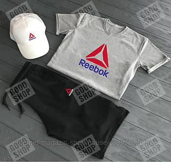 Летний набор кепка шорты и футболка Рибок (Reebok) мужской, реплика