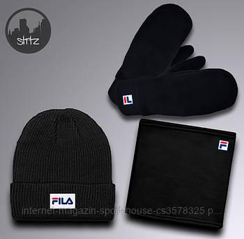 Зимний набор шапка горловик и перчатки Фила (Fila), мужской, реплика