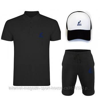 Летний набор кепка шорты и тенниска Асикс (Asics) мужской, реплика