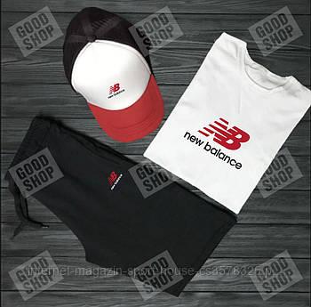 Чоловічий комплект футболка, кепка і шорти New Balance чорного, червоного і білого кольору (люкс копія)
