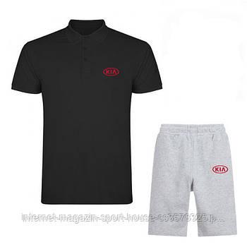 Чоловічий комплект поло/футболка і шорти Кіа (Kia), поло і шорти Kia,чоловіча теніска, копія