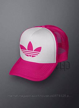 Спортивна кепка Adidas, Адідас, тракер, річна кепка, унісекс, рожевого і білого кольору (копія)