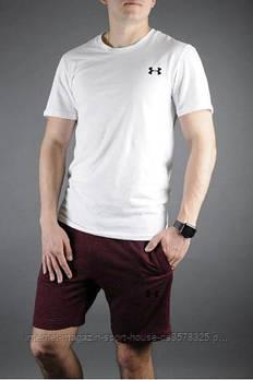 Чоловічий комплект футболка + шорти Under Armour білого і бордового кольору (люкс копія)