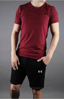 Чоловічий комплект футболка + шорти Under Armour червоного і чорного кольору (люкс копія)