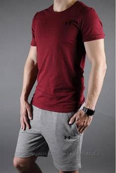 Чоловічий комплект футболка + шорти Under Armour червоного і сірого кольору (люкс копія)