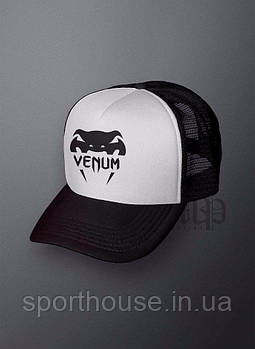 Спортивна кепка Venum, Венум, тракер, річна кепка, чоловічий, жіночий, чорного й білого кольору, копія