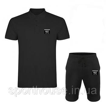 Мужской летний комплект тенниска и шорты Ниссан (Nissan) молодежный, реплика