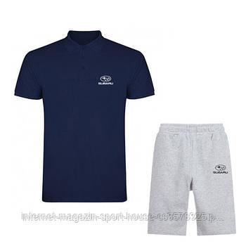Чоловічий комплект поло/футболка і шорти Субару (Subaru), поло і шорти Subaru,чоловіча теніска, копія