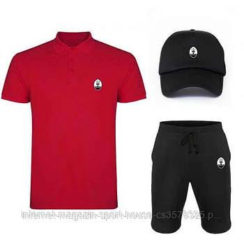 Летний набор кепка шорты и тенниска Мазерати (Maserati) мужской, реплика